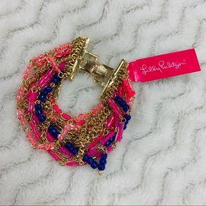 NWT Lilly Pulitzer Pink Gold Multi Strand Bracelet